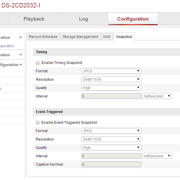 Get Hikvision to save Snapshots through the web interface